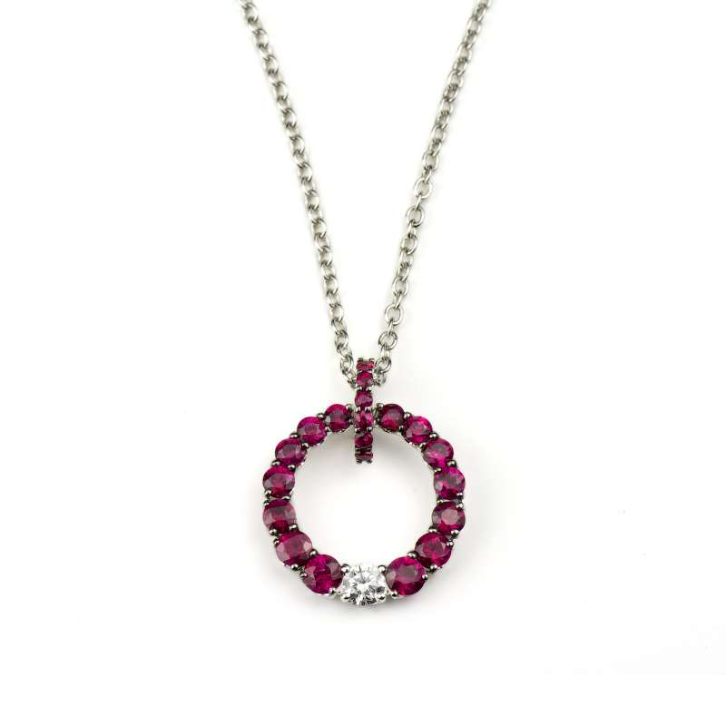 18k White Gold Ruby & Diamond Circle Pendant
